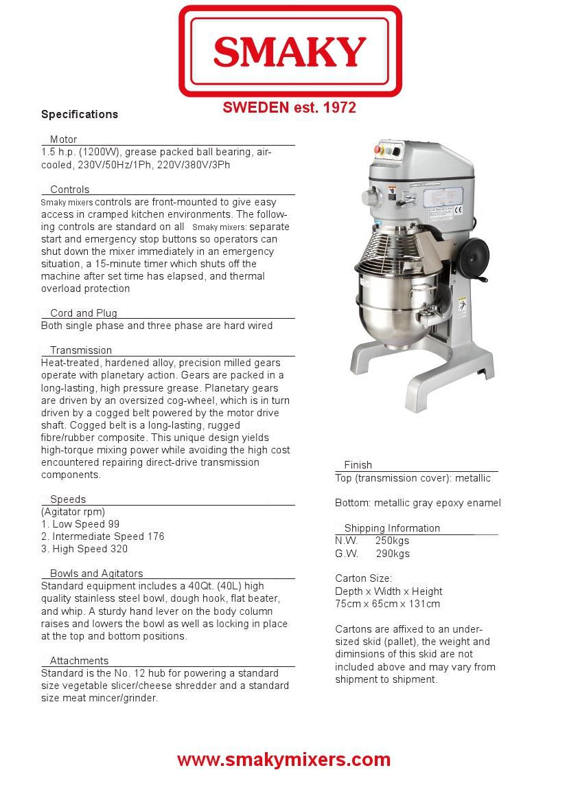 40 Qrt Planetary Mixer | Smaky Mixers